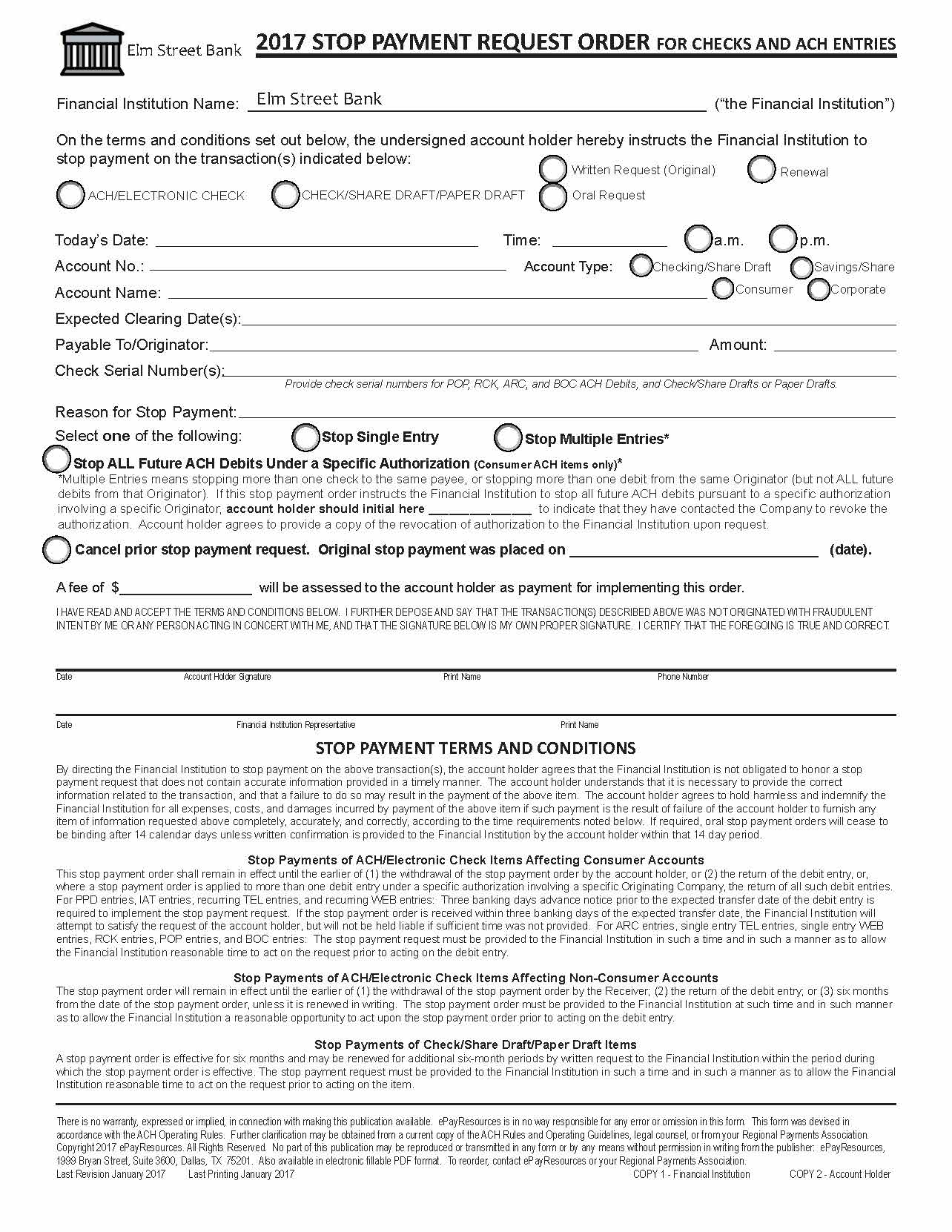 Item Detail - Customized Electronic Stop Payment Request Form